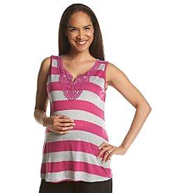 Three Seasons Maternity™ Stripe Tank With Crochet Detail