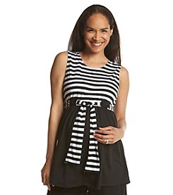 Three Seasons Maternity™ Solid & Stripe Belted Knit Tank
