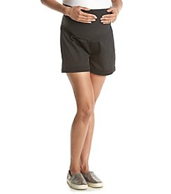 Three Seasons Maternity™ Solid Sateen Twill Over The Belly Cuffed Shorts