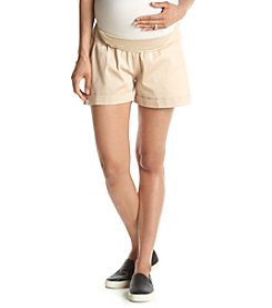 Three Seasons Maternity™ Solid Sateen Twill Under The Belly Cuffed Short