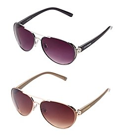 Steve Madden Metal Aviator With Vented Lens