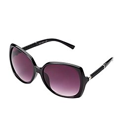 Jessica Simpson Rectangle Glam Leather Temple Sunglasses