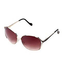 Jessica Simpson Metal Enamel Glam Rectangle Sunglasses