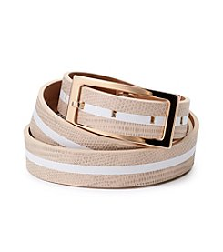 Calvin Klein Embossed Lizard Inlay Belt