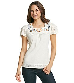 Ruff Hewn Lace Trim Flutter Sleeve Embroidered Tee