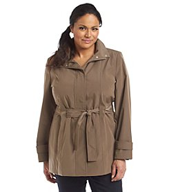 Calvin Klein Plus Size Single-Breasted Belted Coat