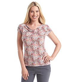 Tahari by Arthur S. Levine® Printed Drape Neck Top