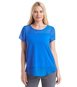 Vince Camuto® Short Sleeve Top With Chiffon Detail