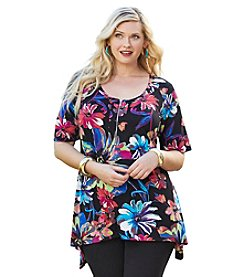 Cupio Plus Size Zipper Tunic