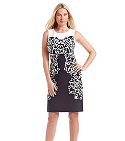 Nine West® Scroll Print Accented Shift Dress