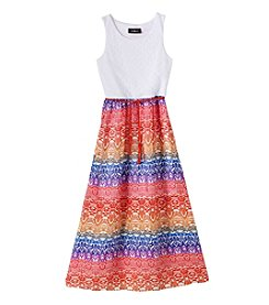Amy Byer Girls' 7-16 Crochet Top Geo Print Maxi Dress