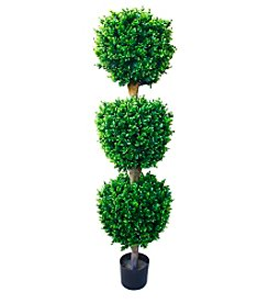 Pure Garden 5' Indoor/Outdoor Romano Hedyotis Triple Ball Topiary Tree