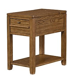 Hammary Oak Chairside Table with Power Bar