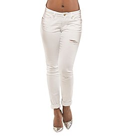 Poetic Justice® Maya White Destroyed Skinny Jeans