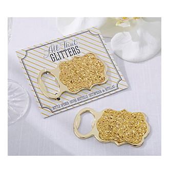 """Kate Aspen Set of 12 """"All That Glitters"""" Gold Glitter Bottle"""