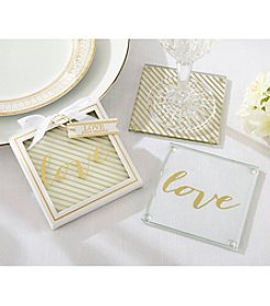 Kate Aspen Set of 12 Gold Love Glass Coasters