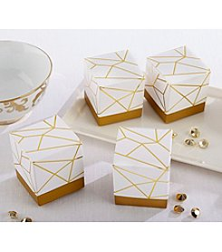 Kate Aspen Set of 24 White and Gold Geometric Favor Boxes