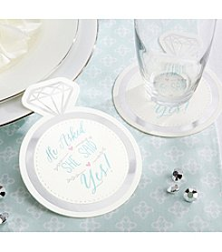 Kate Aspen Set of 40 He Asked, She Said Yes Paper Coasters