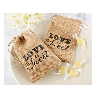 "Kate Aspen Set of 12 ""Love is Sweet"" Burlap Drawstring Favor Bags"