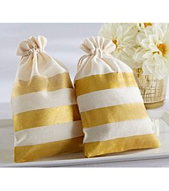 Kate Aspen Set of 12 Gold Stripe Muslin Favor Bags