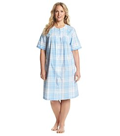 Miss Elaine® Plus Size Blue Plaid Button Up Robe