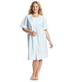 Miss Elaine® Turqoise Short Sleeve Zip Up Robe