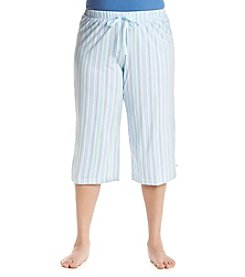 KN Karen Neuburger Plus Size Blue Stripe Lounge Capris