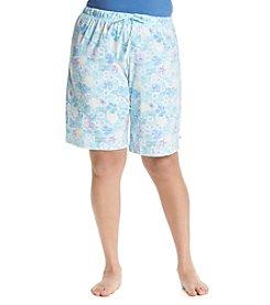 KN Karen Neuburger Plus Size Blue Floral Lounge Bermuda Shorts