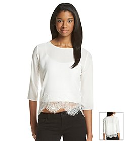 BB Dakota® Lace Hem Blouse