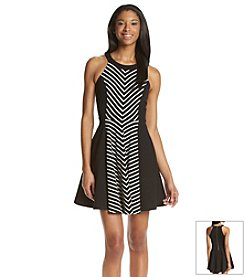 XOXO® Striped Contour Panel Dress