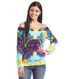 XOXO® Printed Smock Peasant Top
