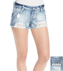 Hippie Laundry Crochet Destructed Jean Shorts