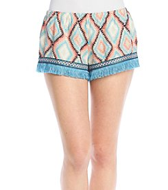 Hippie Laundry Diamond Printed Fringe Shorts