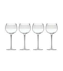 Kate Spade New York Library Stripe Set of 4 Balloon Wine Glasses