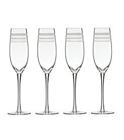 kate spade new york® Library Stripe Set of 4 Champagne Flutes