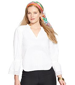 Lauren Ralph Lauren Plus Size Split-Neck Ruffled Top