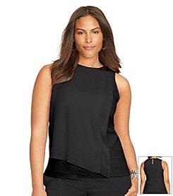 Lauren Ralph Lauren® Plus Size Smocked Keyhole Blouse