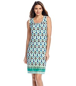 Notations® Abstract Print Pleated Dress