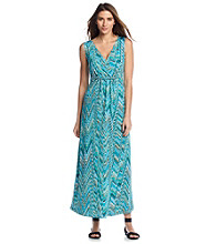Notations® Abstract Print Twist Front Maxi Dress