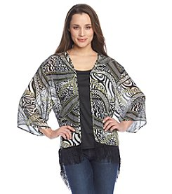 Notations® Multi Print Fringe Bed Jacket With Tank