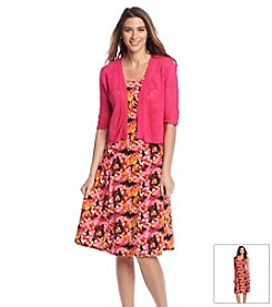 Notations® Floral Print Layered Look Dress
