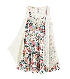 Beautees Girls' 7-16 Crochet Cozy With Dress