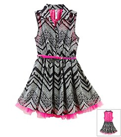 Beautees Girls' 7-16 Chiffon Lace Dress