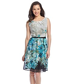 Connected® Aqua Floral Chiffon Dress