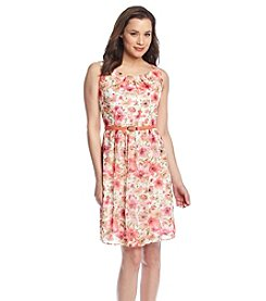 Connected® Coral Floral Chiffon Dress