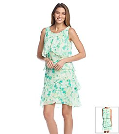 S.L. Fashions Floral Tiered Chiffon Dress