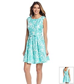 Julian Taylor Shantung Floral Belted Dress