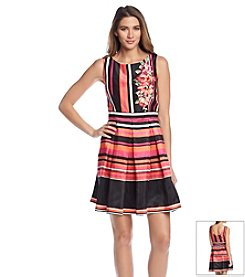 Julian Taylor Floral And Stripe Fit And Flare Dress