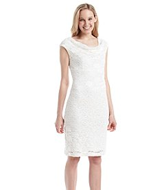 Connected® Lace Drapeneck Dress