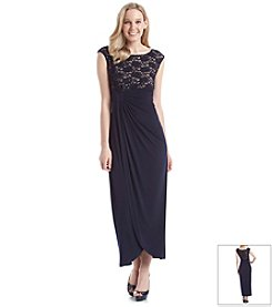 Connected® Lace Bodice Draped Gown
